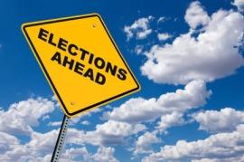 electionsaheadsignwithbluesky